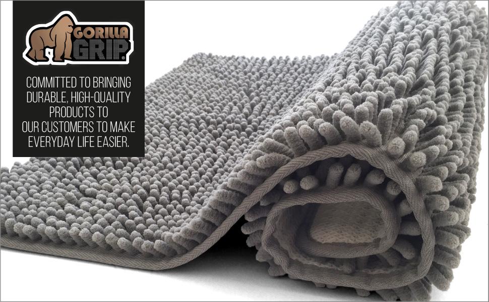 gorilla grip brand brands branding logo tagline bath rug chenille bathroom rugs collection soft