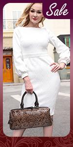Women Top Handle Bag Embossed Satchel Handbag