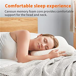 CARESUN memory foam core provides comforable support for the head and neck