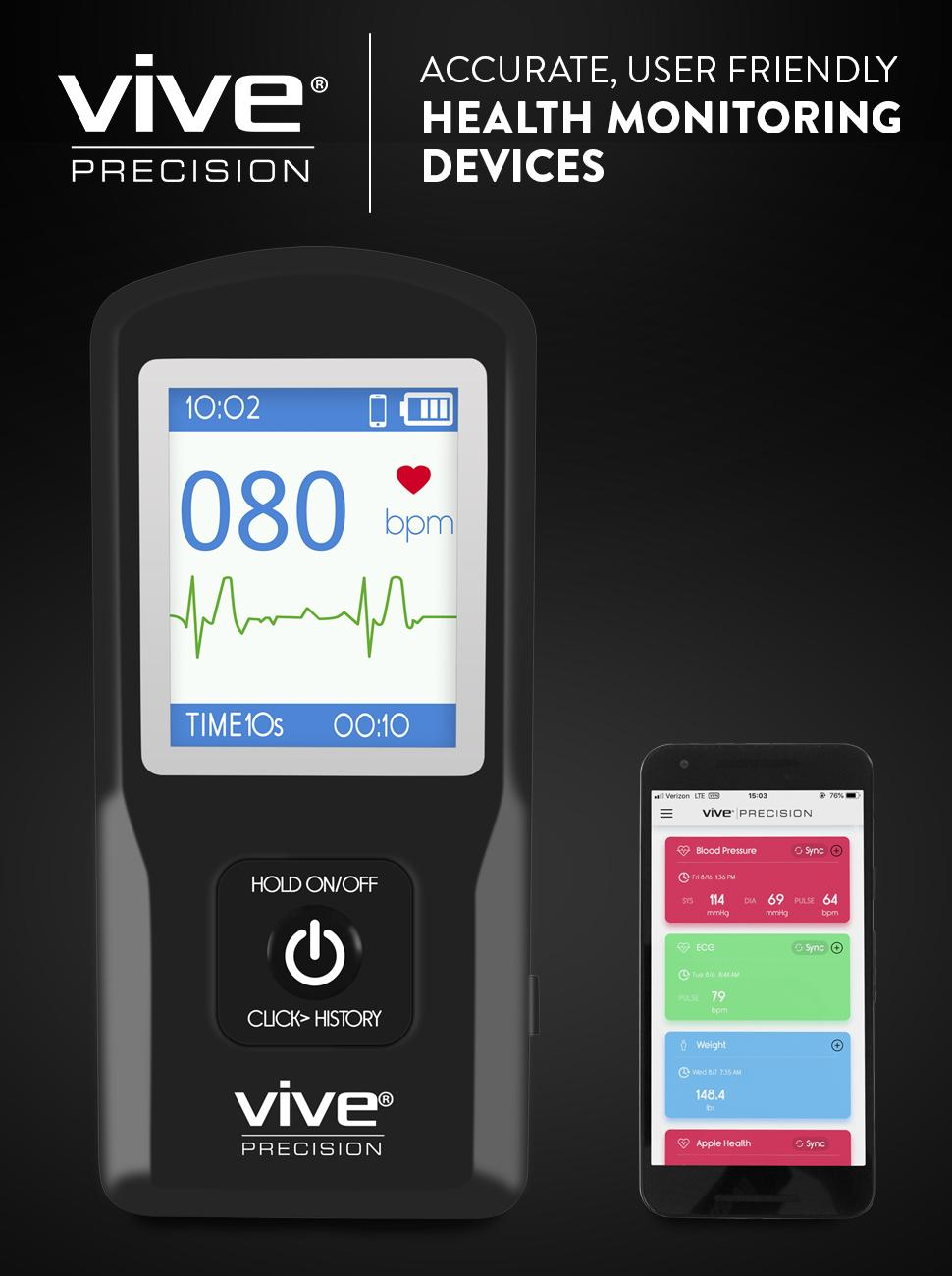 App Included Vive Precision EKG Monitor Smartphone Compatible - Portable Pocket ECG Device Wireless Electrocardiogram Test Made Easy Heart Rate Tracking Sensor Detects Irregular Cardiac Rhythm