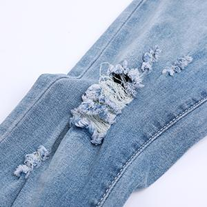 Men's Ripped Distressed Destroyed Skinny Slim Fit Tapered Leg Stretch Denim Pants Jeans