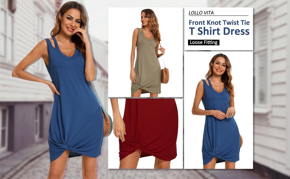 Womens Side Knot Dress Swimsuit Skirt Cover Ups for Women Knee Length Dresses