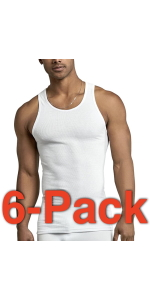 pack of six men's basic white a shirts muscle shirt tank top