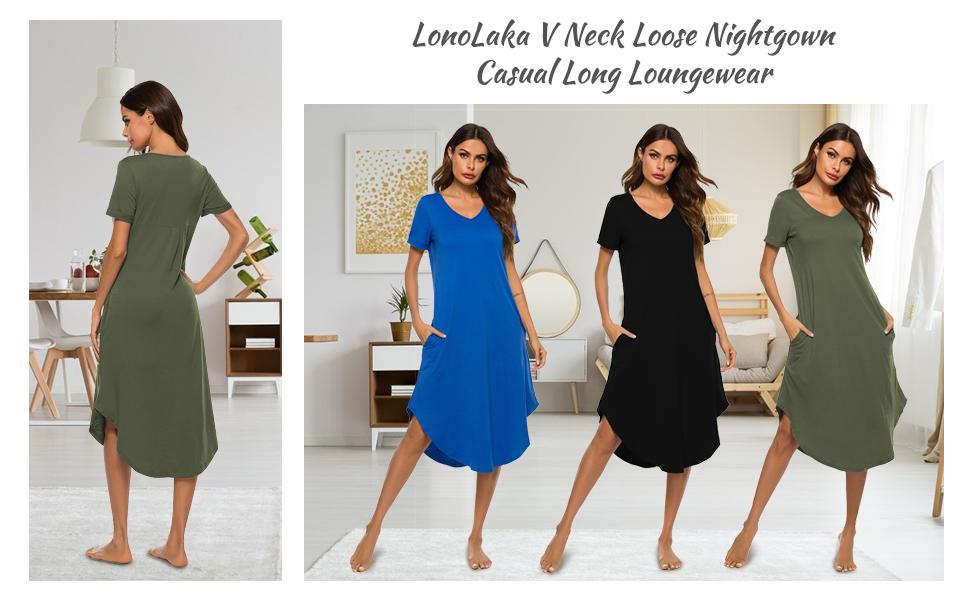 LonoLaka Women's Sleepwear Casual V Neck Nightshirts Short Sleeve Long Nightgown