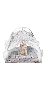 Indoor Outdoor Cat House Grey Black Foldable Cat Condo at Cube House Sleepping Bed for Indoor Cats