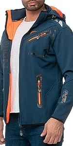 Blue softshell jacket with orange zips