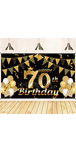 70th birthday banner black and gold 70th birthday decorations for men