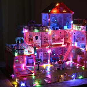 doll house with colorful lights