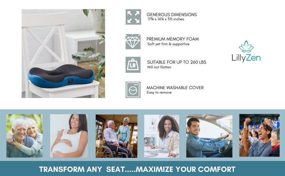 Blue cushion on white chair, feature icons, images of use- retirees, office, pregnancy, car, stadium