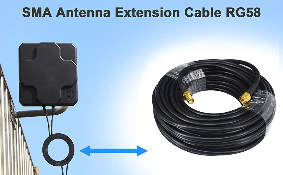 Low-Loss Coaxial Extension Cable 15-Meter(49.2 Ft) RG58 SMA Female to SMA Male