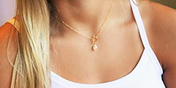 tiny pearl paperclip chain paper clip toggle lobster necklace pearl pendant every day necklace
