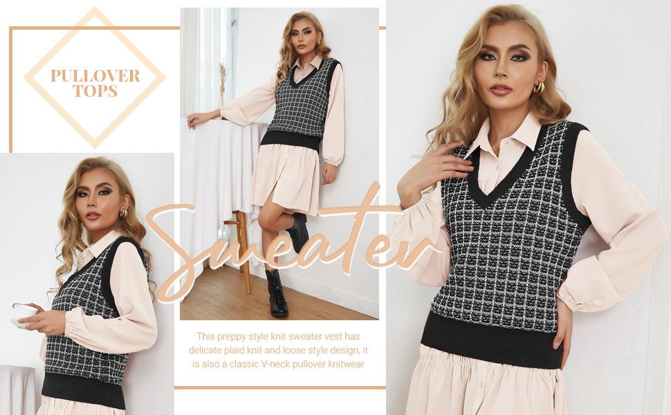 Kate Kasin Women's Plaid Sweater Vest