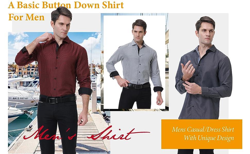 Mens Casual Dress Shirts Regular Fit Button Down Shirt