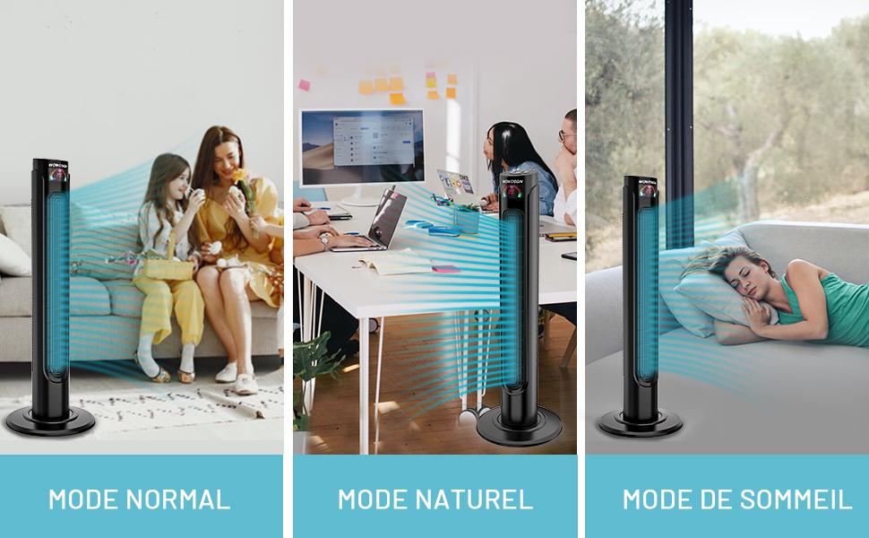 Ventilateur Colonne Silencieux WOWDSGN Ventilateur Tour Oscillant 75° avec Télécommande