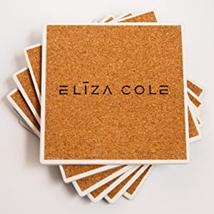 ELIZA COLE cork bottom drink coasters for wooden table
