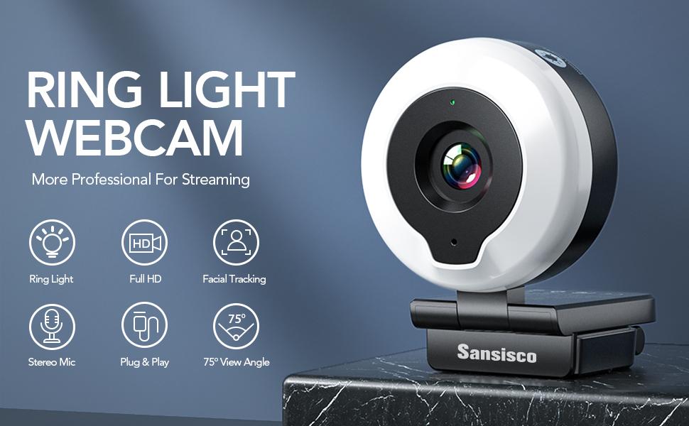 Webcam mit Licht 1080P Full HD