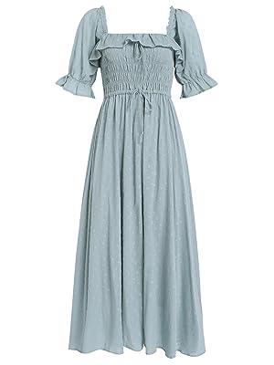Women Vintage Elastic Square Neck Ruffled Half Sleeve Summer Backless Beach Flowy Maxi Dresses
