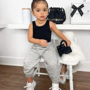 toddler baby girl sportswear tracksuit grey pants black vest tank top solid summer outfit clothes