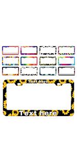 Custom License Plate Frames Sunflower for Women Men