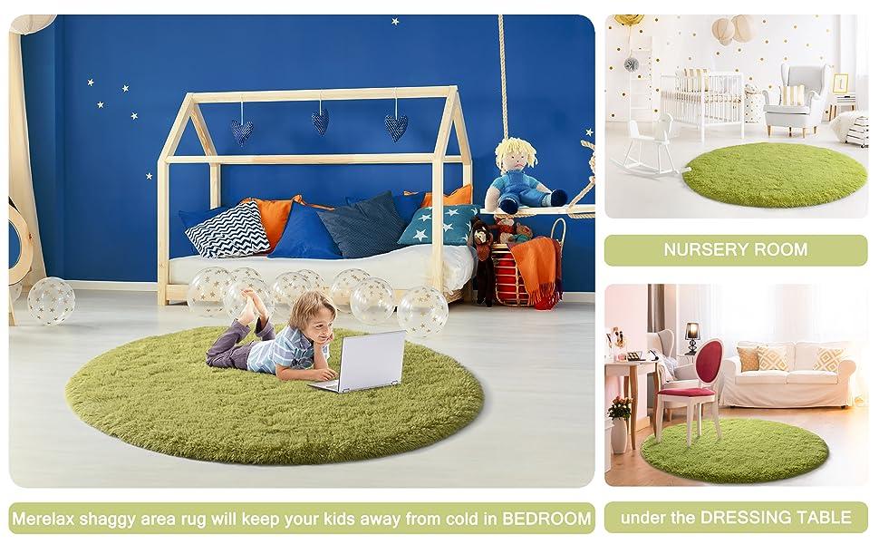shaggy round kids castle rug