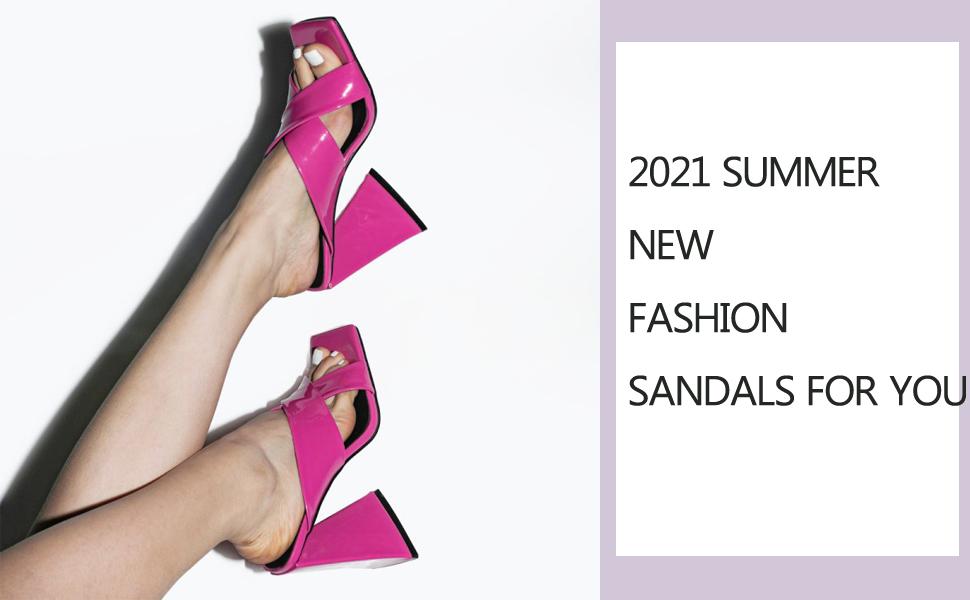 Chunky high heel sandals for women summer new