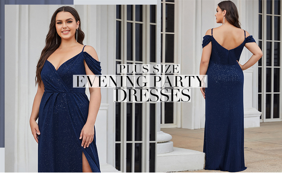 Ever-Pretty Women's Plus Size Glitter Long Evening Party Dress