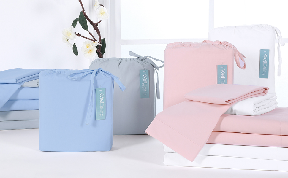 White blue Pink Grey Fresh Protect Silver-Infused Cotton 3-Piece Sheet Set