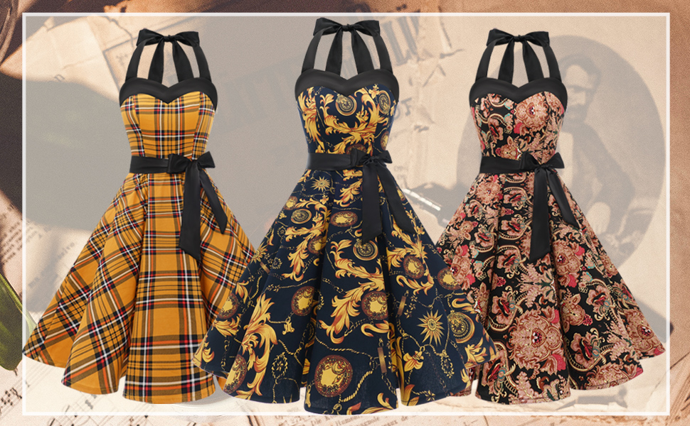 50s Dress Women Vintage Cocktail Halter Dress 1950s Rockabilly Homecoming Dress