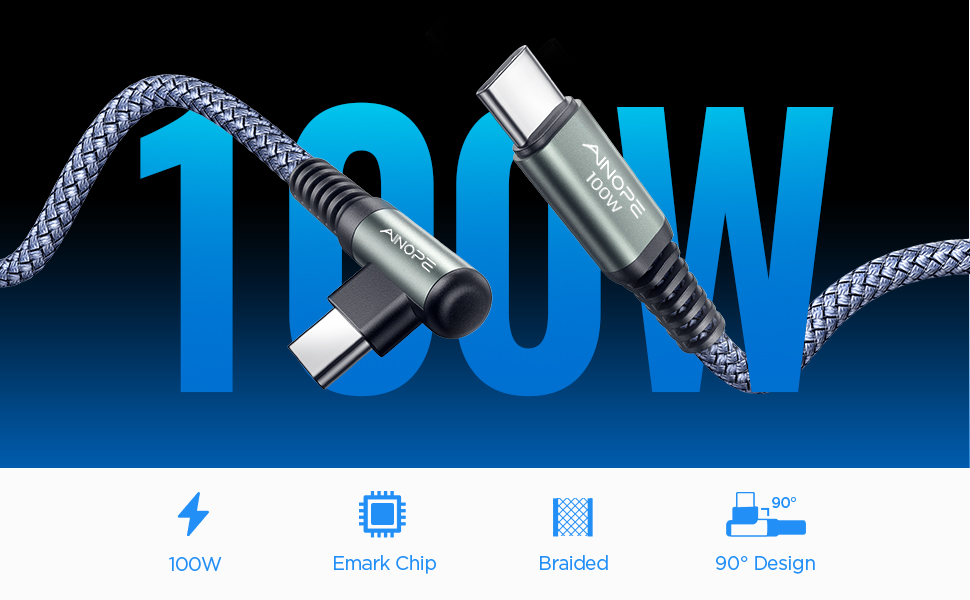 AINOPE 100W USB C TO USB C RIGHT ANGLE CABLE