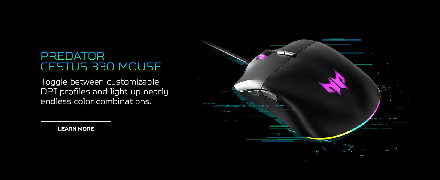 predator cestus 330 mouse lighting dpi customize customizable color