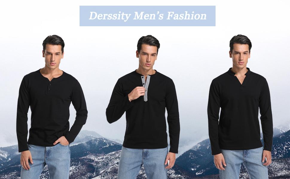 Mens long sleeve henley t-shirt fashion casual henley tops