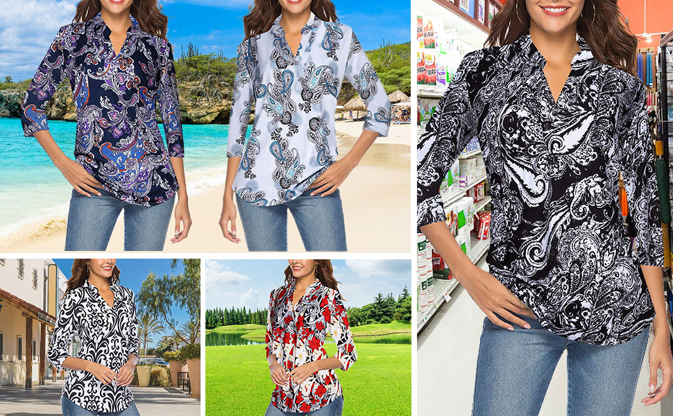Women's 3/4 Sleeve Floral V Neck Tops Casual Tunic Blouse Loose Shirt