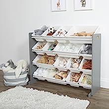 Grey and white 16 bin kids toy organizer with 16 bins toys playroom storage children organization