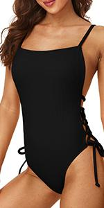 Ribbed Tie Side One Piece Swimsuits