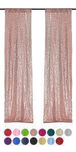 2*8FT-2PCS rose gold sequin backsrop curtain