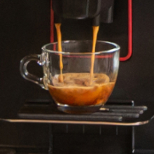Coffee is ground and brewed fresh for every drink made on the Magenta Plus.