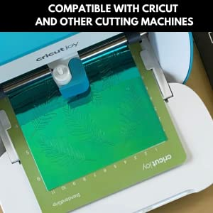 kassa holographic vinyl green in a cutting machine after design has been cut