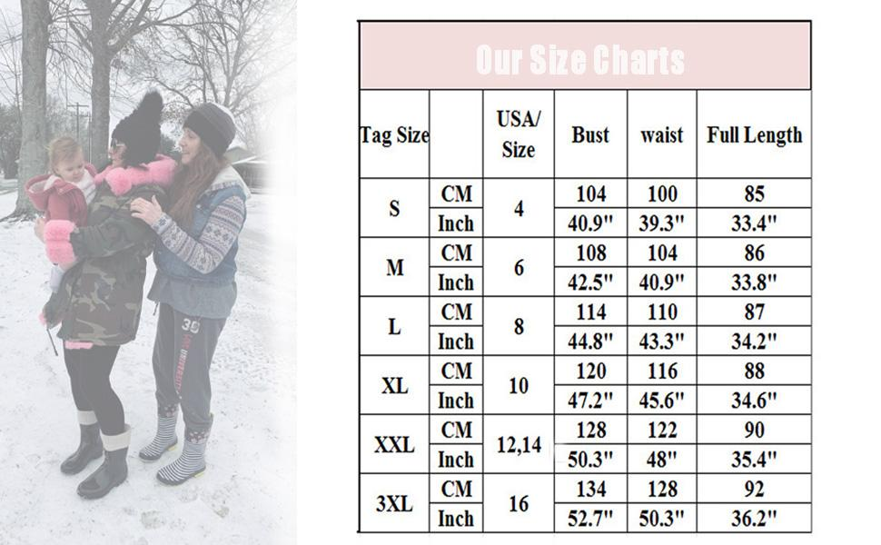 Roiii Winter coat size chart