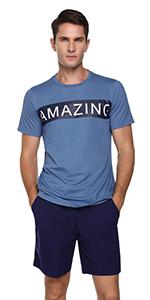 Men Pjs Pajama Set Cotton Loungewear Nightwear Sleepwear Short Sleeve Top & Bottoms Outfits