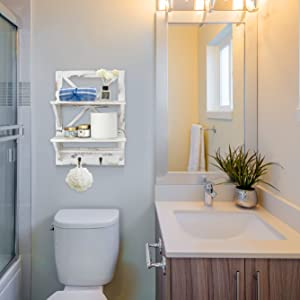 The 2-Tier Bathroom Storage Rack can be placed on the hall