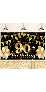 90th birthday decorations for men black and gold 90th birthday banner