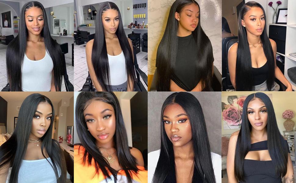 black straight wig human hair