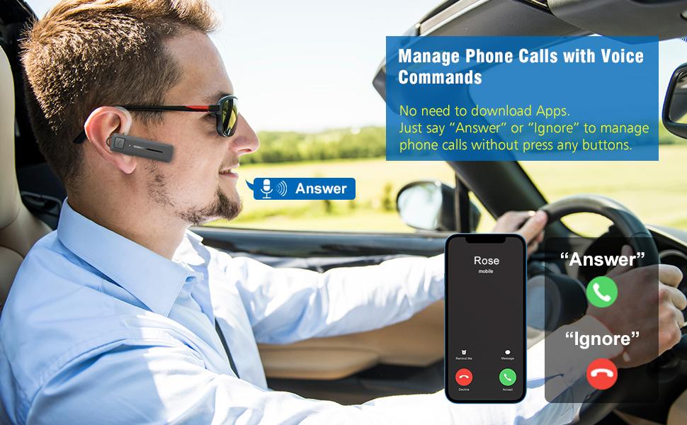 bluetooth headset voice commands earpiece wireless blue tooth ear piece handsfree calls cell phones