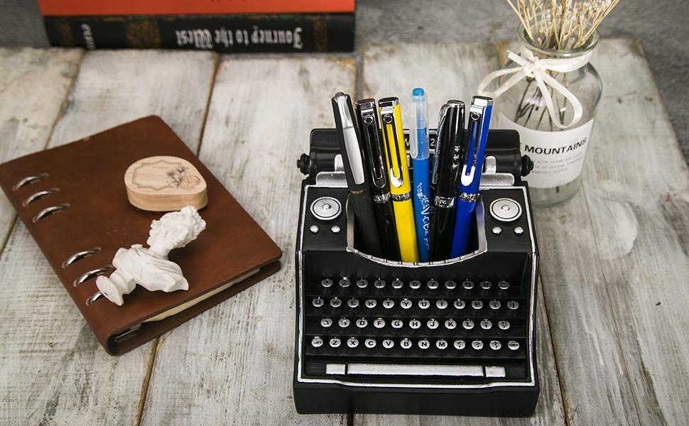 Retro Typewriter Pen Holder Black