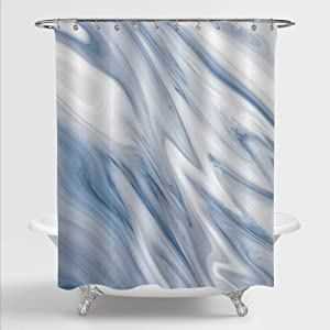 MitoVilla Blue Grey Marble Shower Curtain