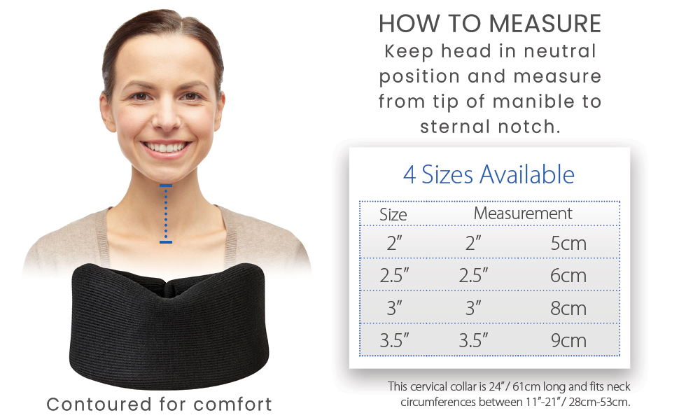 4 sizes available, please measure from tip of manible to sternal notch, see graphic