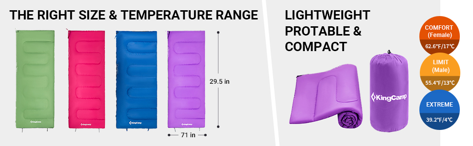 Lightweight Compact 3 Season Joinable Envelope Sleeping Bags