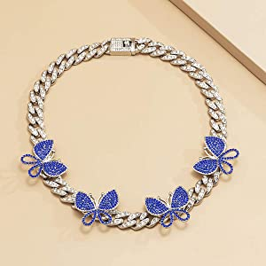 iced out butterfly cuban necklace