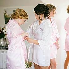 Personalized Wedding Day Robe, Monogrammed Bridal Robe, Custom Bride Robe, White Satin Robe