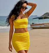 Ladmous Womenamp;#39;s 2 Piece Crop Tank Top with Skirt Set Solid Bodycon Mini Dress Going Out Dresses